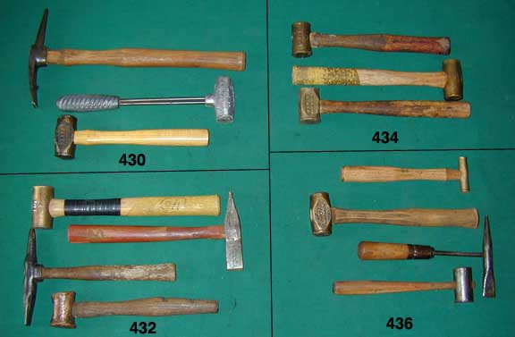 types of antique hammers. lot of four hammers: 1 1/2-lb. eagle? brass hammer; vertical and horizontal peen hammer with letter s cast into head; unknown make stone or body types antique hammers